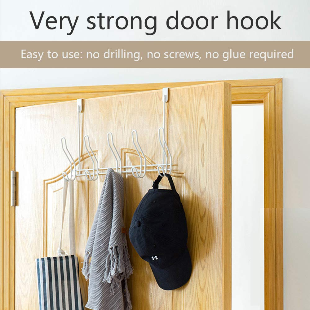 Over Door Hook - 5 Coat Hooks Pegs - No Drill Towel Rack for Bathroom Storage Closet - Behind The Door Organizer Clothes Rack - Shoe Or Hat Holder - Office Cubicle Purse Hanger - Brick White by TAIDOU (Image #5)