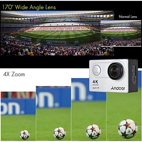 "Sports Camera, Andoer 4K Action Camera AN6000 40m Waterproof 16MP Wireless Ultra HD 170° Wide Angle Lens with Remote Control 2"" LCD Support 4X Zoom Diving Slow Motion Drama Photo"