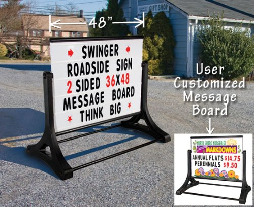 Magic Master RS-SSW-MB Swinger Roadside Changeable Message Sign (White) by Roadside