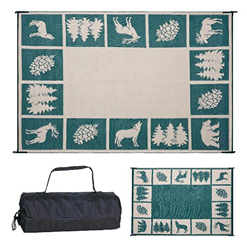 Reversible Mats 229124 9' x 12' Outdoor Patio Camping Hunter RV Mat (Green/Beige)