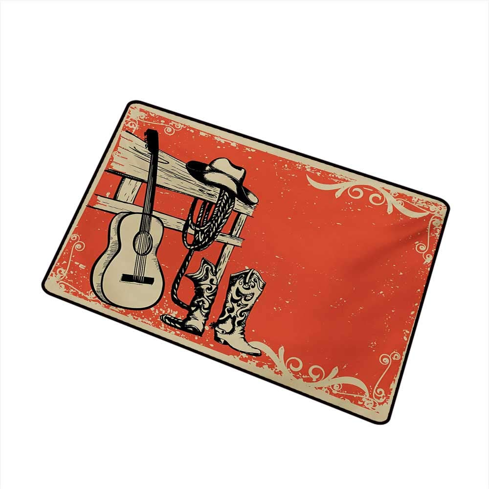 BeckyWCarr Western Front Door mat Carpet Image of Wild West Elements with Country Music Guitar and Cowboy Boots Retro Art Machine Washable Door mat W31.5 x L47.2 Inch,Beige Orange by BeckyWCarr