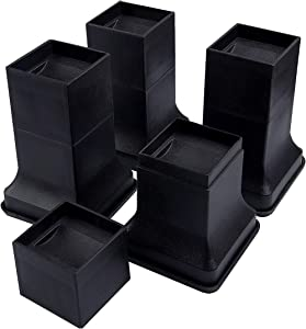 BTSD-home 6 Inch Heavy Duty Bed Risers Stackable Multi Height Furnture Risers Adjustable to 6, 4 or 2 Inch Heights, 8 Pieces Set