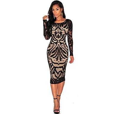 80635db32590a TWBB Bekleidung Damen Kleider, Sexy O Ausschnitt Abend Cocktail Party  Langarm Spitzenkleid Paket hip Kleid