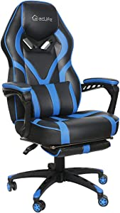 Massage Office Chair,Video Game Chair,Gaming Chair Racing Style,High Back PU Leather PC Racing Computer Desk Office Swivel Recliner with Footrest and Adjustable Lumbar Cushion Support (Blue)