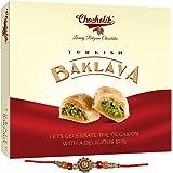 Chocholik Rakhi Gift Box – Turkish Baklava with Almonds & Pista - Exclusive Sweet Delight for Any Occasion, 150gm + Free Rakhi
