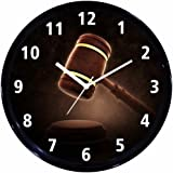 Huppme Lawyer/advocate/judge wall clock with glass for Home / Bedroom / Living Room/Study room/office/court room