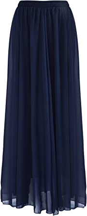 SUNNOW de Estilo Casual Falda de Cintura Alta Largo Maxi Falda de ...
