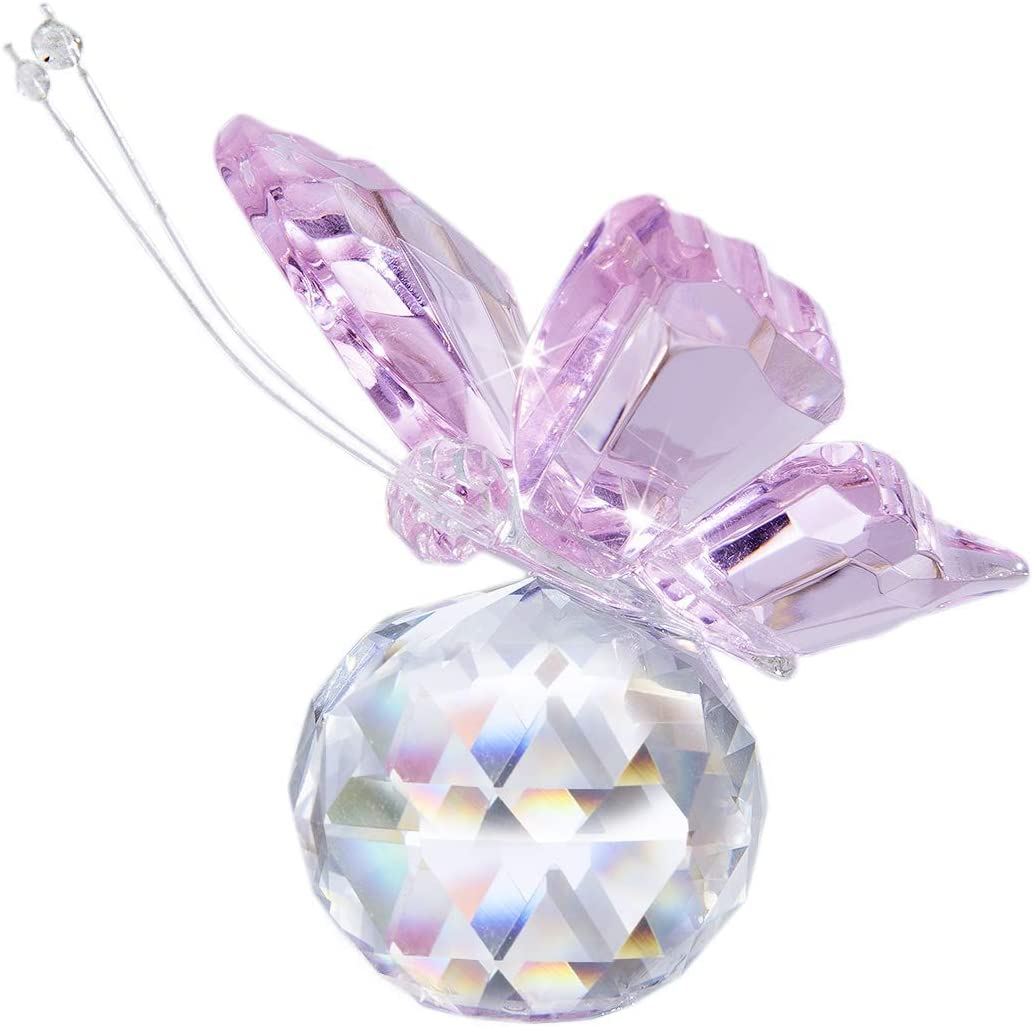 H&D HYALINE & DORA Pink Crystal Flying Butterfly with Crystal Ball Base Figurine Collection Cut Glass Ornament Statue Animal Collectible