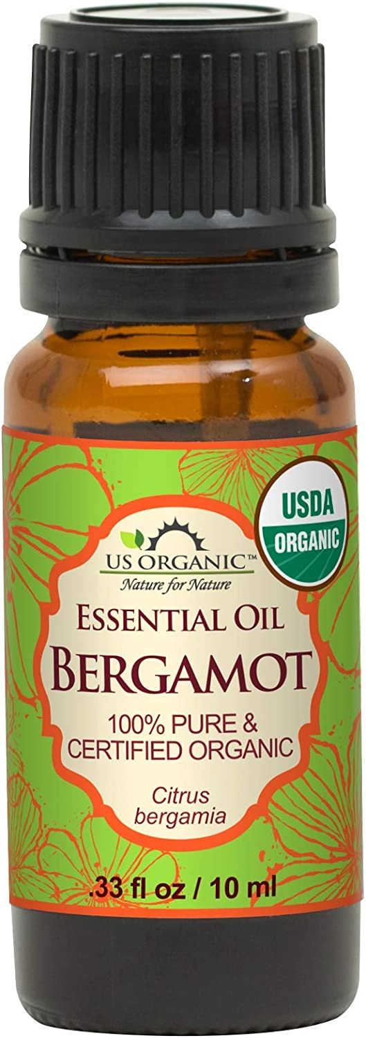 US Organic 100% Pure Bergamot Essential Oil - USDA Certified Organic, Cold Pressed - W/Euro droppers (More Size Variations Available) (10 ml / .33 fl oz)