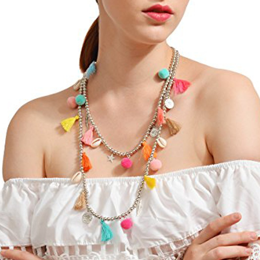 Simsly Long Multi Colored Tassel Necklace with Shell and leaves Pendant for Women and Girls XL-133