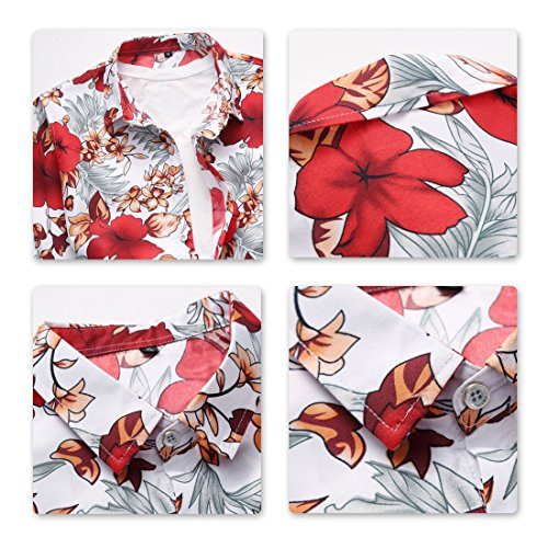 Print Stampa Shirt colori assortiti Hawaiian Short rosso Hawaiian Allthemen Sleeve 4wxETqfUH