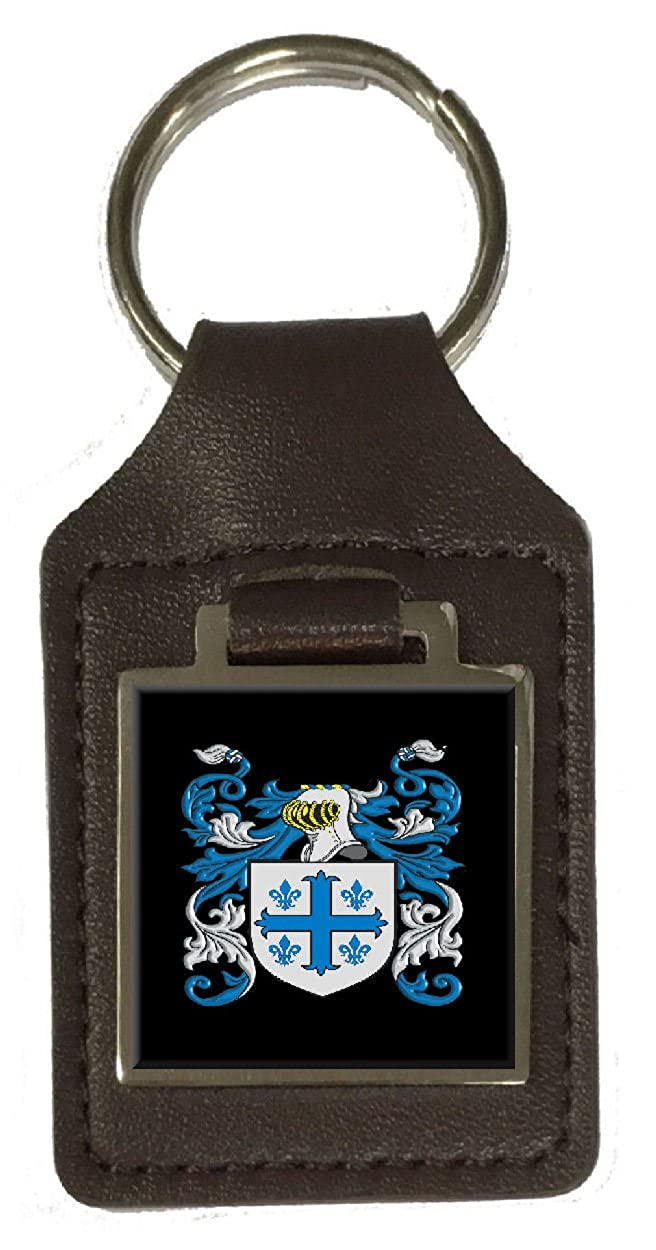 Rox Family Crest Surname Coat Of Arms Brown Leather Keyring Engraved