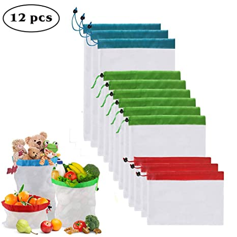 Enshant Bolsas Compra Reutilizables, 12pcs Ecológicas Bolsa de Malla para Almacenamiento Fruta Verduras Juguetes Lavable y Transpirable 3 Diversos ...