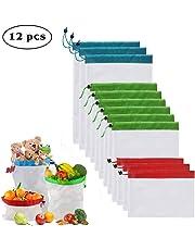 Enshant Sacs en Maille Réutilisables, [Lot de 12] Sac de Produires Lavable Filet à Sacs Réutilisables à Fruits et Légumes Les Fruits Les Jouets Les Légumes l'épicerie Les Shopping et Le Stockage
