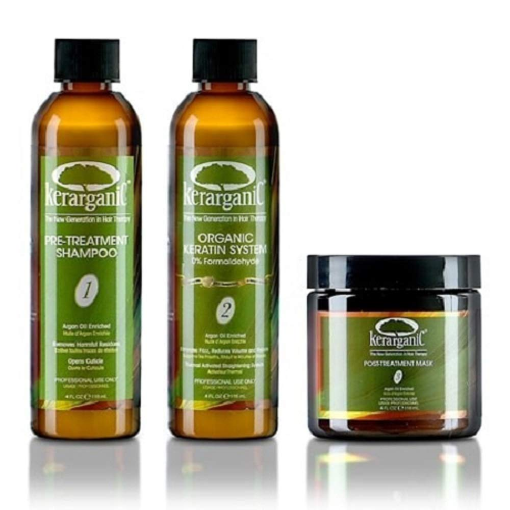 KERATIN ORGANIC TREATMENT (FORMALDEHYDE-FREE) + POST-TREATMENT SET: 1 Pre-Treatment Shampoo + 1 Keratin Treatment + 1 Post-Treatment Mask + 1 Shampoo + 1 Conditioner + 1 Mask + 1 Leave-In + 1 Argan Oi
