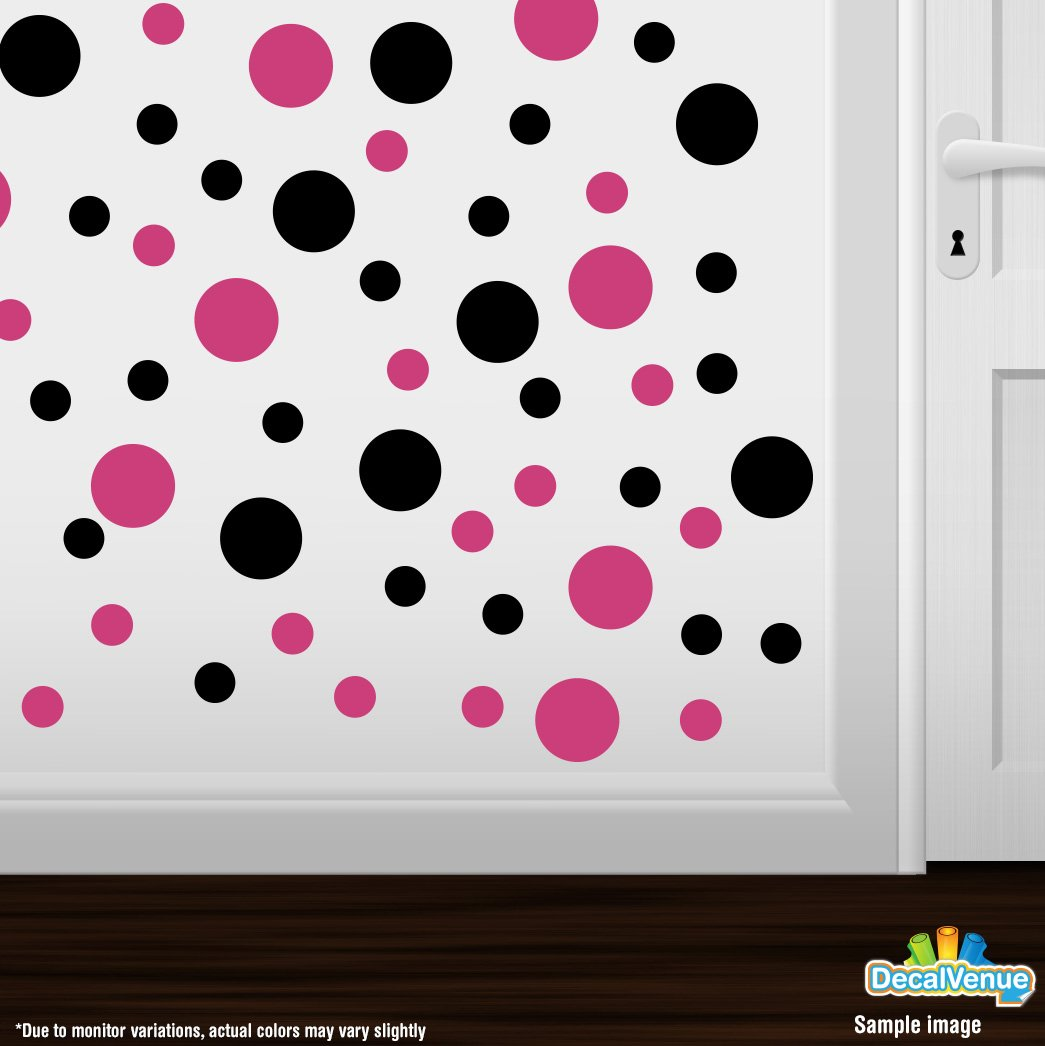 "Hot Pink / Black Vinyl Wall Decals Stickers (2"" & 4"" Circles, Qty 30)"