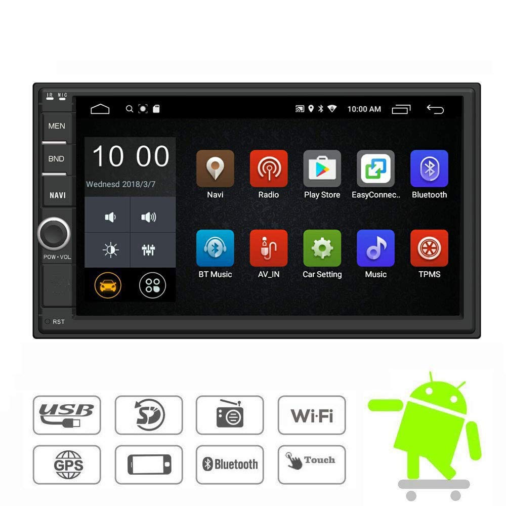 Amazon.com: YODY Android Double Din Car Stereo Radio 7 Inch Touch Screen in Dash GPS Navigation Support WiFi Bluetooth Mirror Link SWC OBD with Free Backup ...