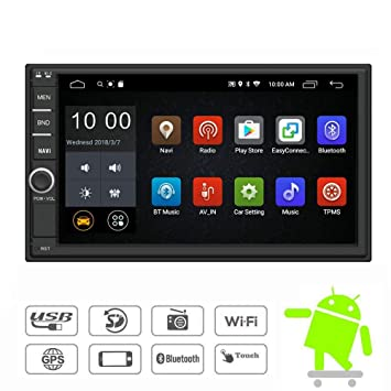 YODY Android Double Din Car Stereo Radio 7 Inch Touch Screen in Dash GPS Navigation Support