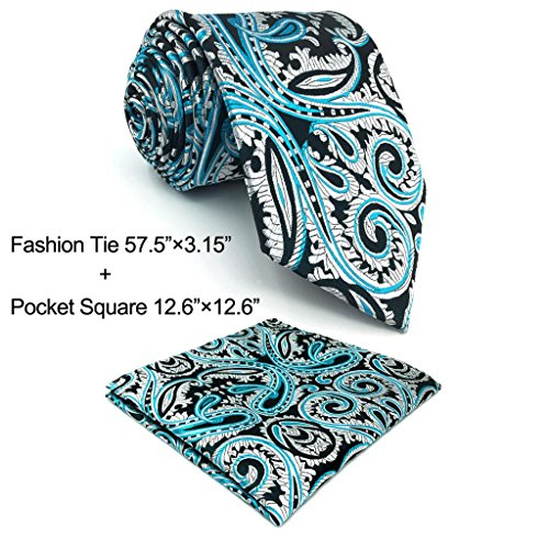 Shlax&Wing Silver Blue Black Neckties Mens Ties New Design Patterned - Black Blue Silver