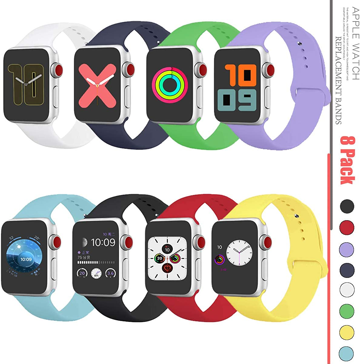 Compatible with Apple Watch Band 38mm,Apple Watch Band 40mm,Apple Watch Band 42mm,Apple Watch Band 44mm,Apple Watch Series 1/2/3/4/5/6/SE Band Wristbands