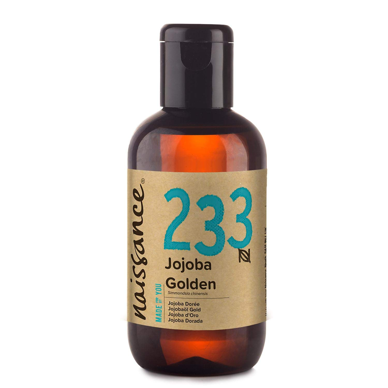 Naissance Cold Pressed Golden Jojoba Oil 3.4 fl oz - Pure & Natural, Unrefined, Vegan, Hexane Free, Non GMO - Ideal for Aromatherapy and as a Massage Base Oil - Moisturizes & Conditions Hair & Skin