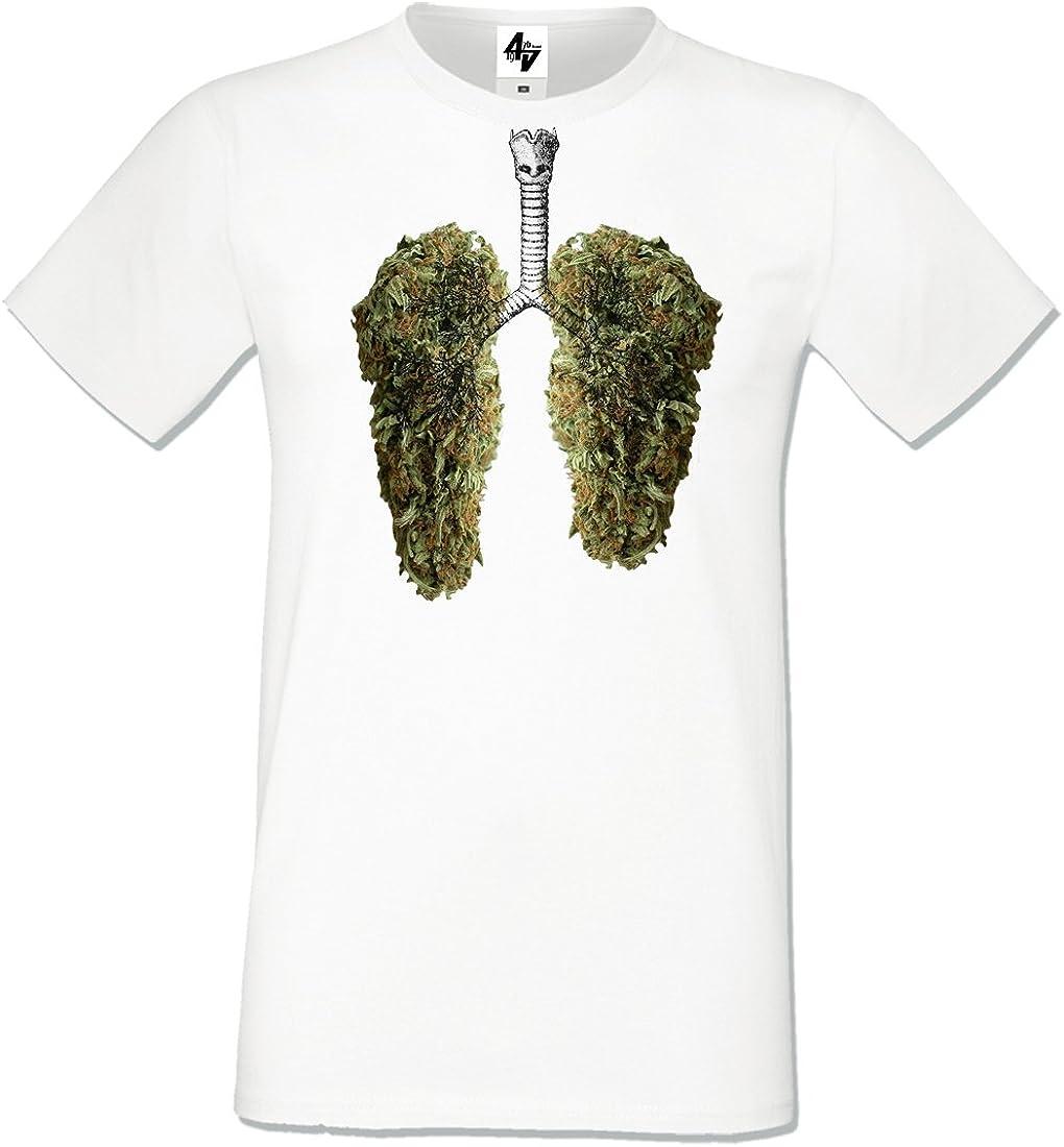 4sold Mens T-Shirt Happy Pulmones Blanco Azul Negro Gris Algodón Pesado Regular Fit Cuello Redondo Tamaño Corto S-XXL