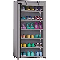 Coroid 6 Layer Multipurpose Portable Folding Shoe Rack/Shoe Shelf/Shoe Cabinet with Wardrobe Cover, Easy Installation Stand for Shoes(ShoesRack 6Layer in Grey Color)(Shoe Racks for Home)