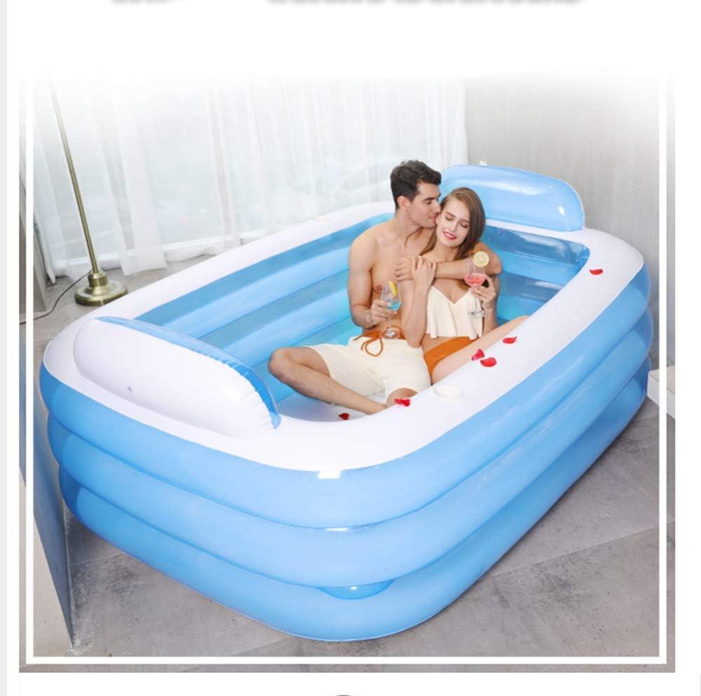 Defect Tina de baño Inflable Grande Adultos Dobles Bañera de plástico portátil Bañera de hidromasaje Inflable de PVC Bañera Plegable para SPA