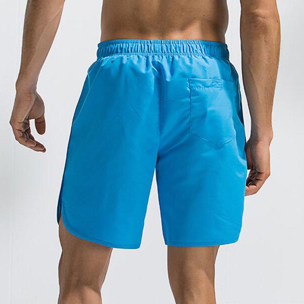 Juleya Herren Strand Shorts Quick Dry Einfarbig Badehose f/ür M/änner mit Rei/ßverschlusstasche Surfen Schwimmen Watershort
