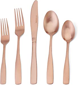 Silverware Set, 20-Piece Stainless Steel Flatware set, Tableware Cutlery Set Service for 4,Utensils for Kitchens, Dishwasher Safe (Matte Rose Gold, 20-Piece)