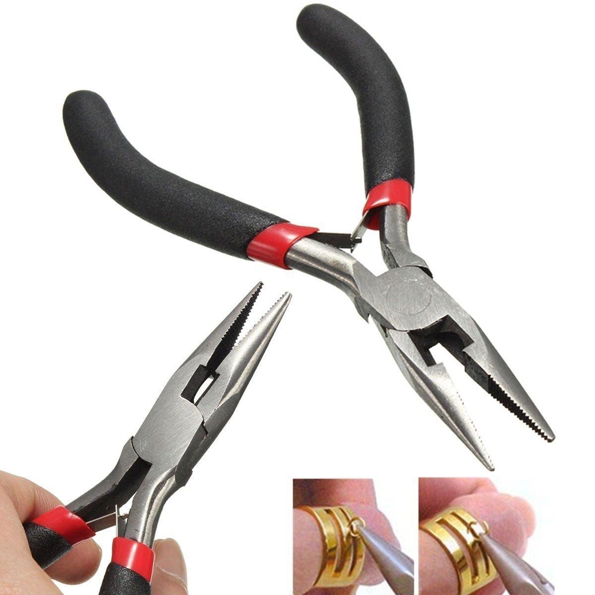 diagonale /& fin Pince coupante vzer Lot de 5/pinces Kit doutils pour bijoux Outils long Bent nez rond