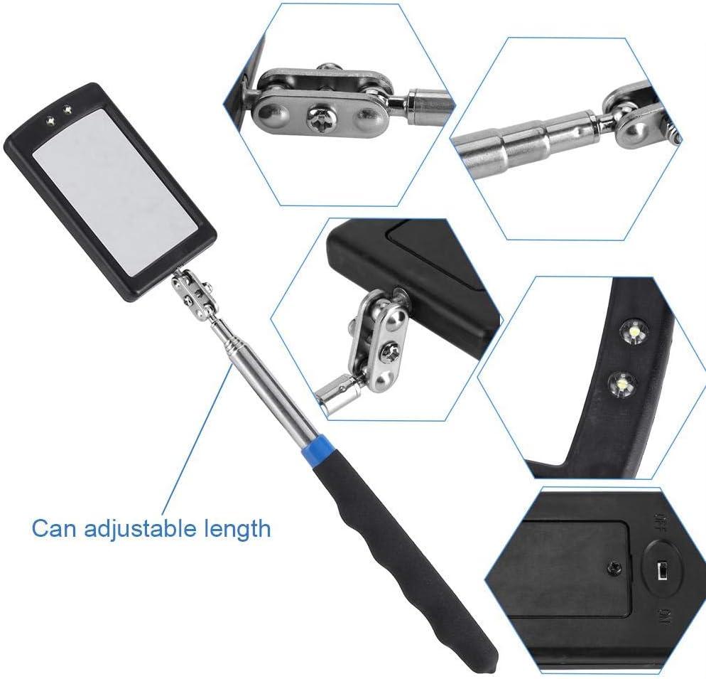 Espejo de inspecci/ón con inspecci/ón telesc/ópica LED espejo telesc/ópico Espejo de inspecci/ón ajustable con luz LED flexible Herramienta de extensi/ón de rotaci/ón de 360 grados con 2 luces LED extra b