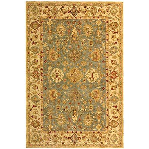 Safavieh Anatolia Collection AN547A Handmade Traditional Oriental Blue and Ivory Wool Area Rug (6' x 9') by Safavieh