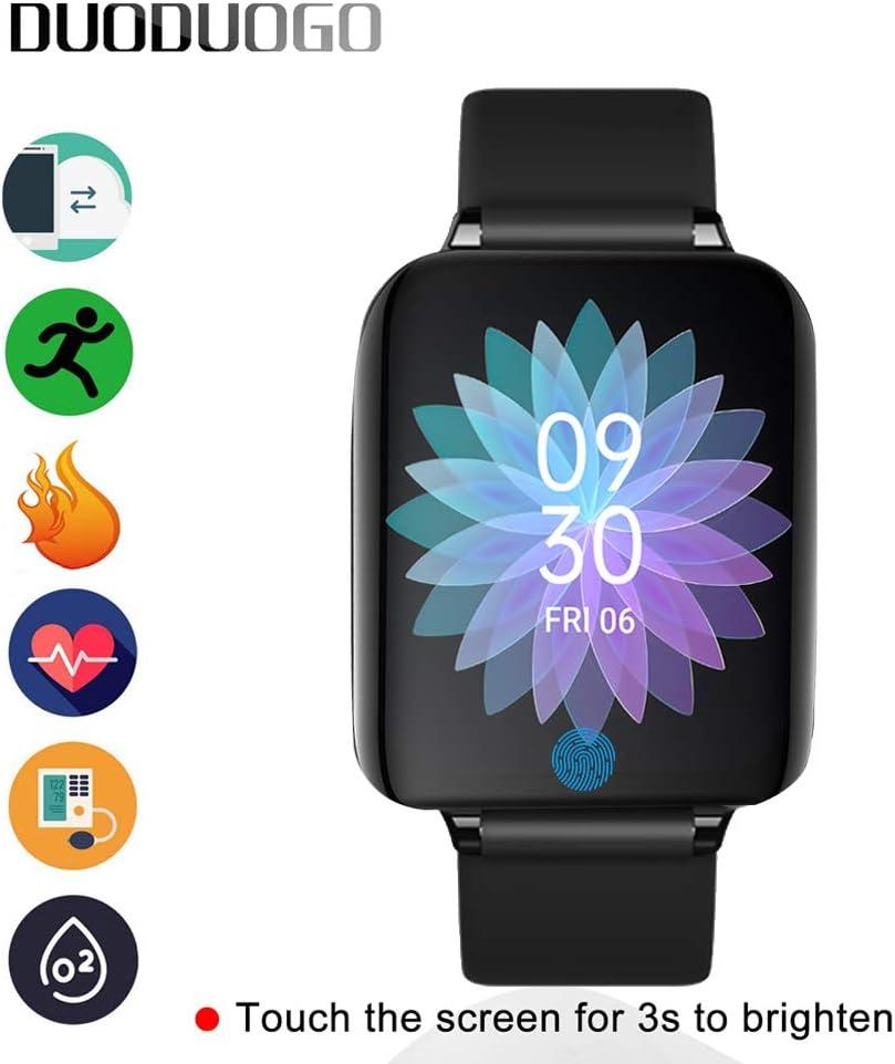 Smartwatch, Reloj Inteligente Impermeable con GPS Monitor de Ritmo Cardíaco Podómetro Cronómetro Pulsera Actividad de Fitness con Podómetro Smart Watch Mujer Hombre niños para iOS y Android (Negro)