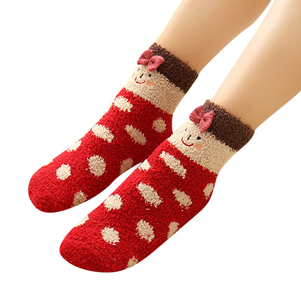 Christmas Socks, 3D Socks Animal Winter Warm Fluffy Bed Sleep Socks Fuzzy Socks Bulk Toddler Socks Boys Liner Socks Free Size WMY-006