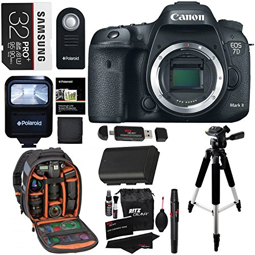 Canon EOS 7D Mark II Digital SLR Camera (Body) + 32GB Memory Card + 57 Inch Tripod + Spare Battery + Polaroid Slave Flash + Professional DSLR Case + Polaroid Accessory Kit