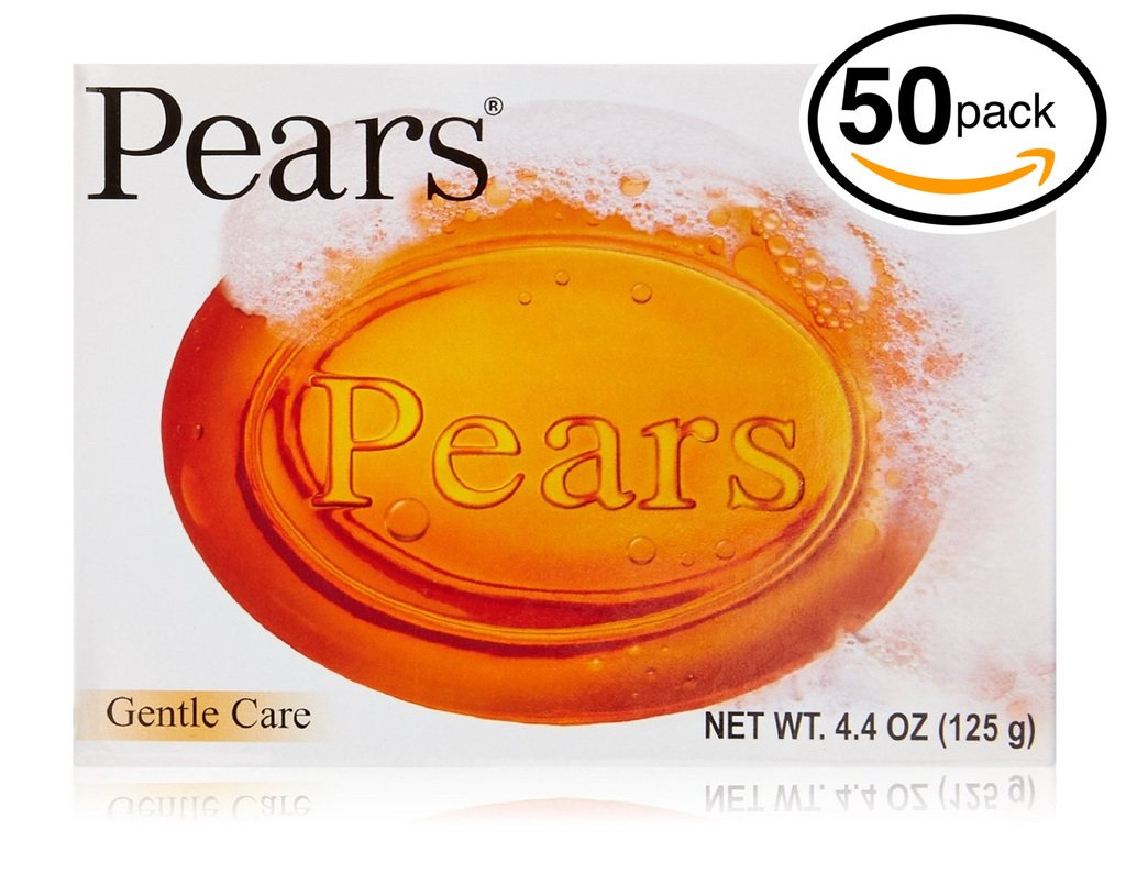 (PACK OF 50 BARS) Pears Transparent Soap ORIGINAL GENTLE CARE. Moisturize the Skin While Cleansing With Natural Oils & Glycerin! Great for Hands, Face & Body! (50 Bars, 4.4oz Each Bar)
