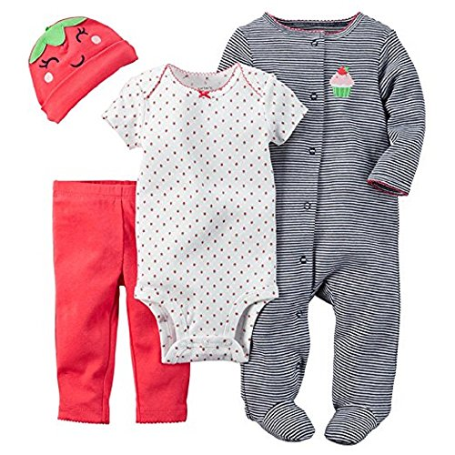 Carter's Baby Girls' 4 Piece Layette Set (Baby) - Cupcake-Newborn (Girl Cupcake Carters Newborn)