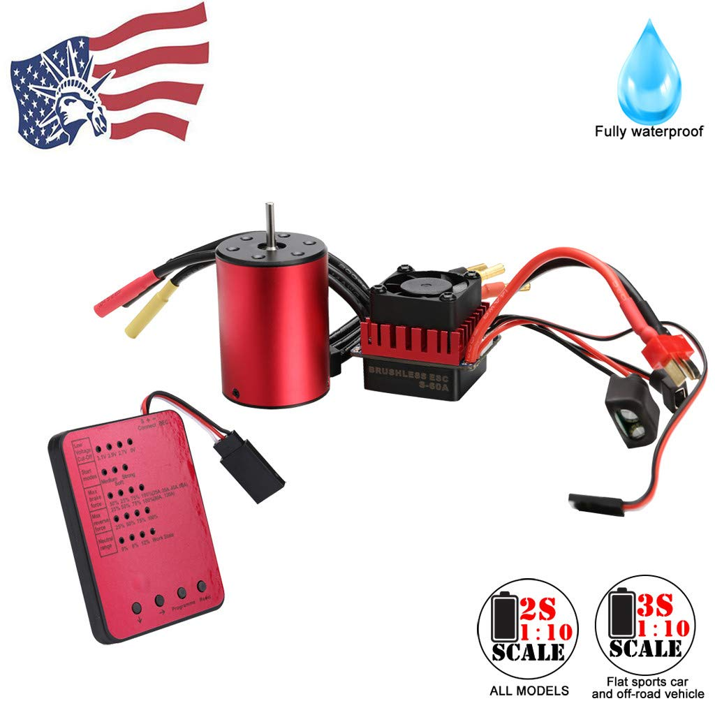 [Profession Brushless Motor] Muti-Protection Waterproof Visdron 3650 3100KV/ 3900KV Brushless Motor+60A ESC+Programming Card for 1/10 RC Car (Red, 3650-3900KV Motor+ESC+Card)