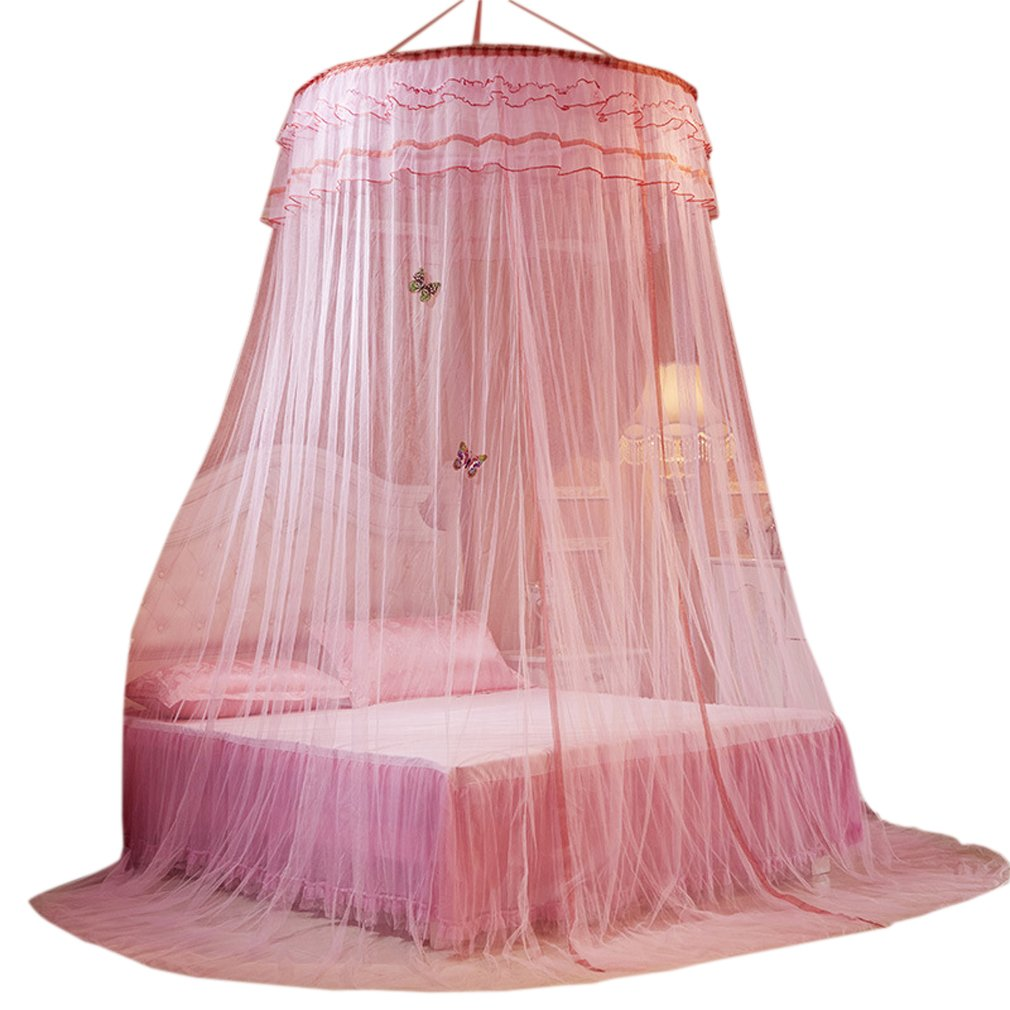 La Vogue Bed Nets King Size Round Hoop Mosquito Bed Canopy Queen Size Full Coverage (Pink)