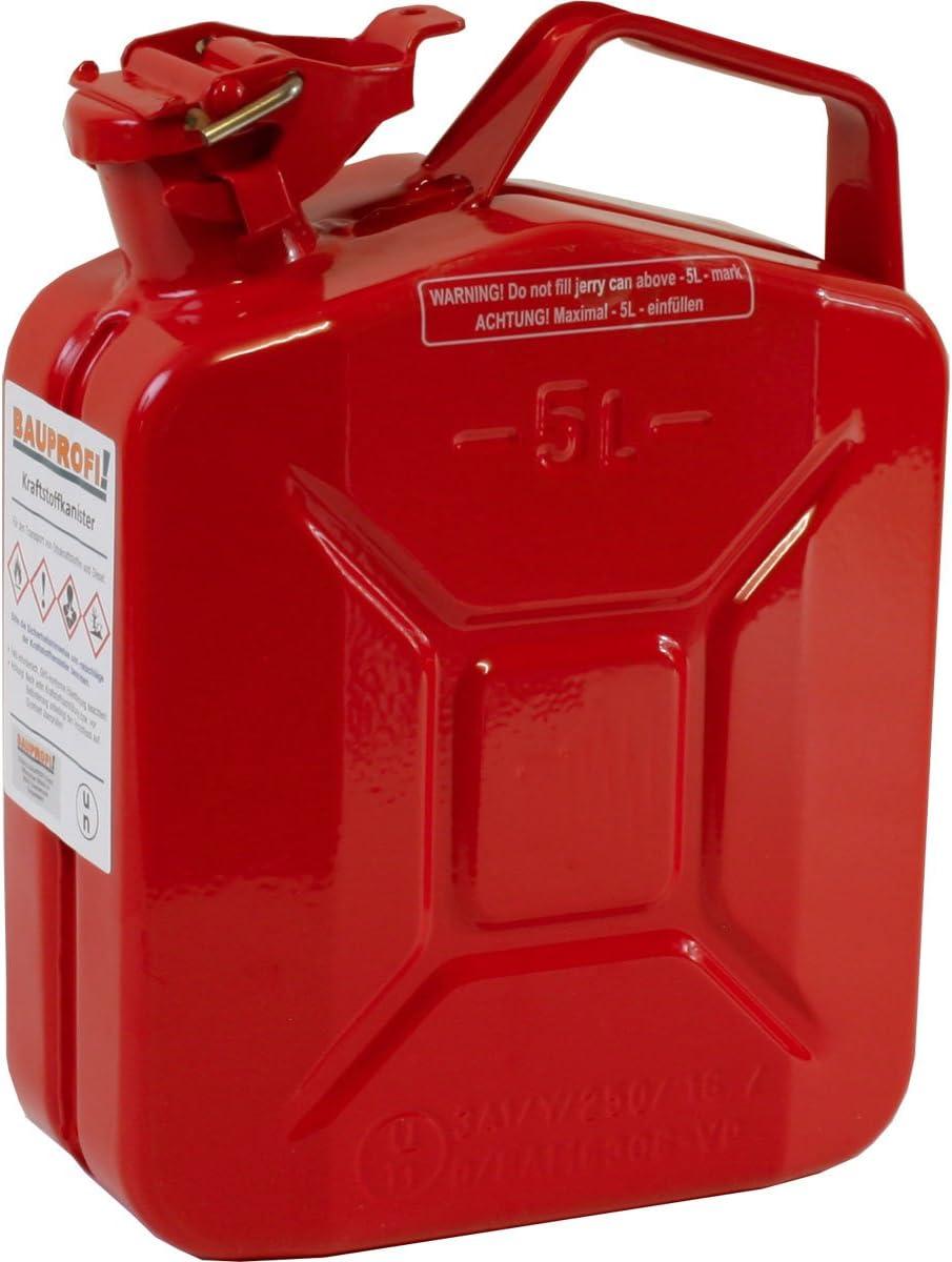 5 Liter Stahlblechkanister Ggvs Mit Sicherungsstift Rot Benzinkanister Metallkanister 5l Auto