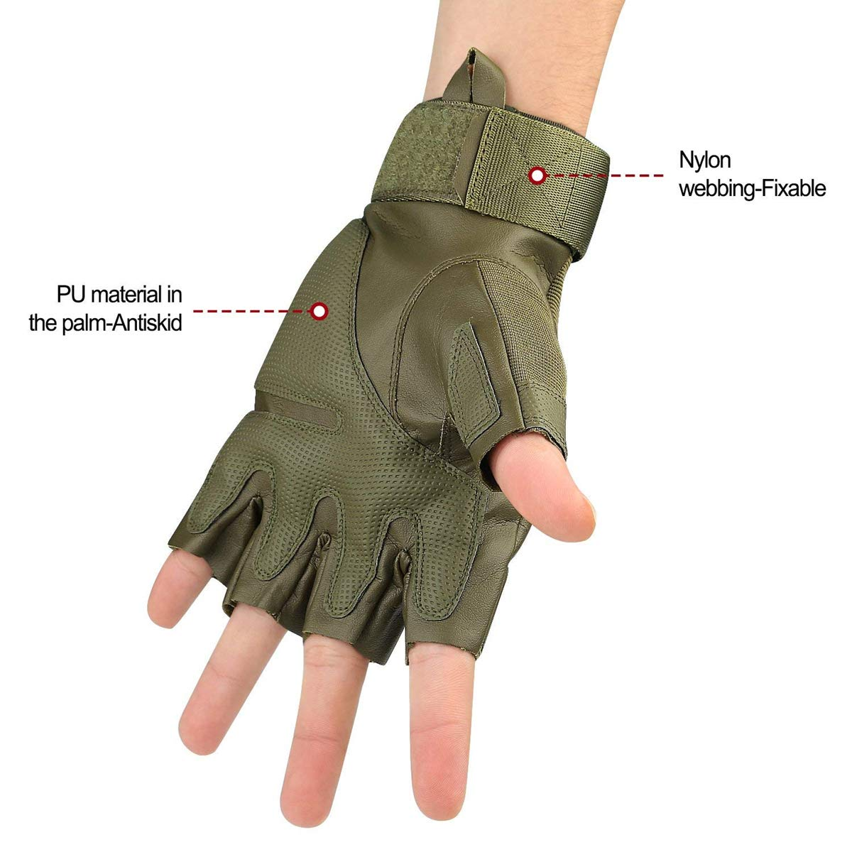 M, Army Green Half Finger Military Rubber Hard Knuckle Gloves Fit for Outdoor Exercise Climbing Racing Hiking Camping Cycling Motorcycle Avril Tian Tactical Gloves