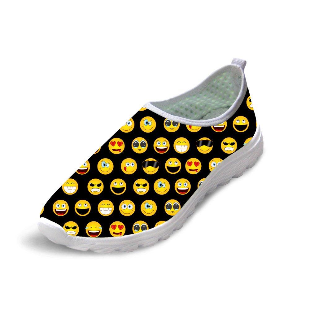 Instantarts Cartoon Emoji Print Slip On Walking Sneakers Street Style Shoes for Women Black US9
