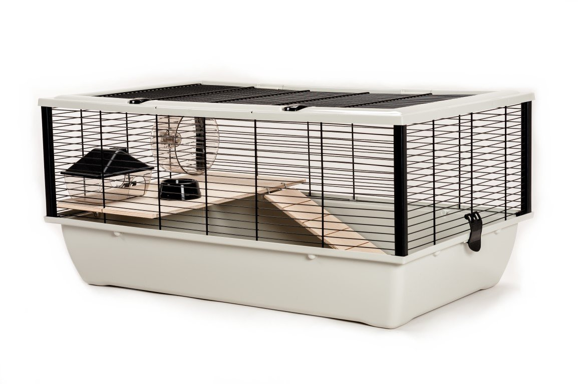 Hamster Cage with Wooden Shelf and Ladder, Large, 78 x 48 x 36 cm, Silver/ Black