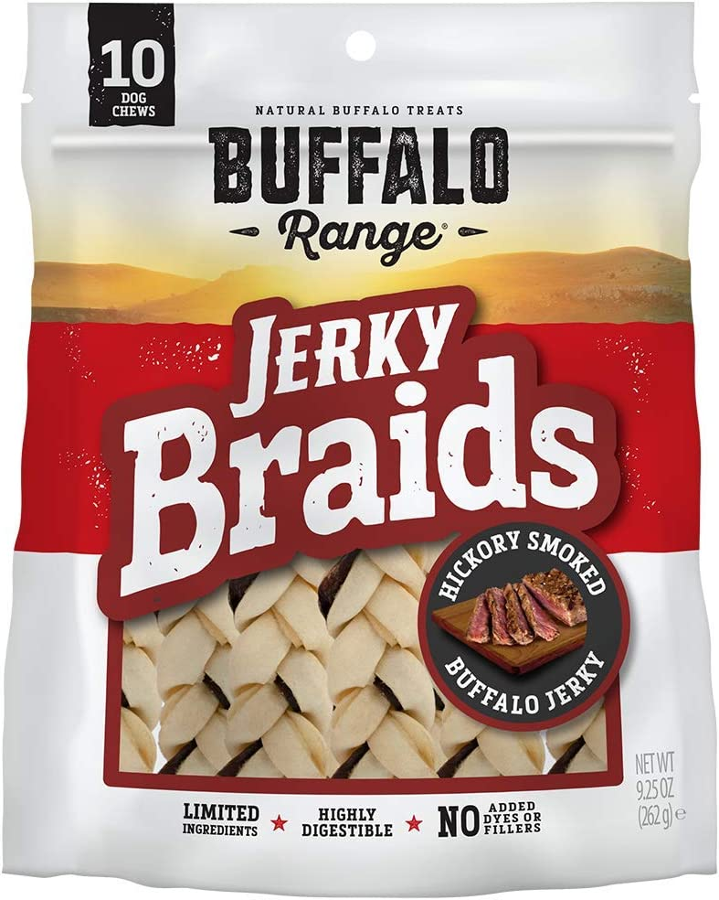 Buffalo Range Rawhide Dog Treats | Healthy, Grass-Fed Buffalo Jerky Raw Hide Chews | Hickory Smoked Flavor