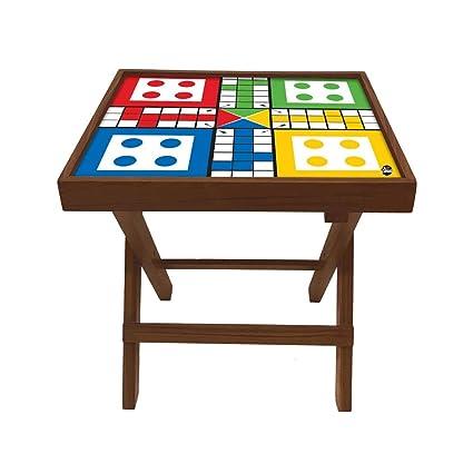 Nutcase Designer Teak Wood Side Table Folding Wooden Bedside Coffee Outdoor Picnic Table - Ludo