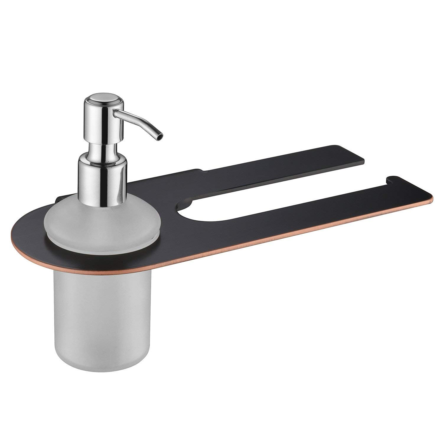 Aothpher Bulk Liquid Refillable Soap Dispenser with Towel Bar Towel Holder Bathroom Hotel Accessories Wall Mounted,Stainless Steel/Matte Black