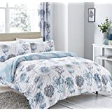 WATERCOLOUR-STYLE FLORAL FLOWERS BLUE GREY COTTON BLEND CANADIAN QUEEN SIZE (COMFORTER COVER 230 X 220 - UK KING SIZE) (PLAIN CHARCOAL GREY FITTED SHEET - 152 X 200CM + 25 - UK KING SIZE) PLAIN CHARCOAL GREY HOUSEWIFE PILLOWCASES 6 PIECE BEDDING SET