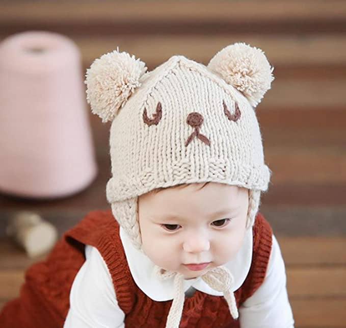 Cat Beard Nipple Cap Buns Baby Hat Winter Hat Baby Tire Cap Wool Cap Toddler Digood Suit for 1-6 Months Baby