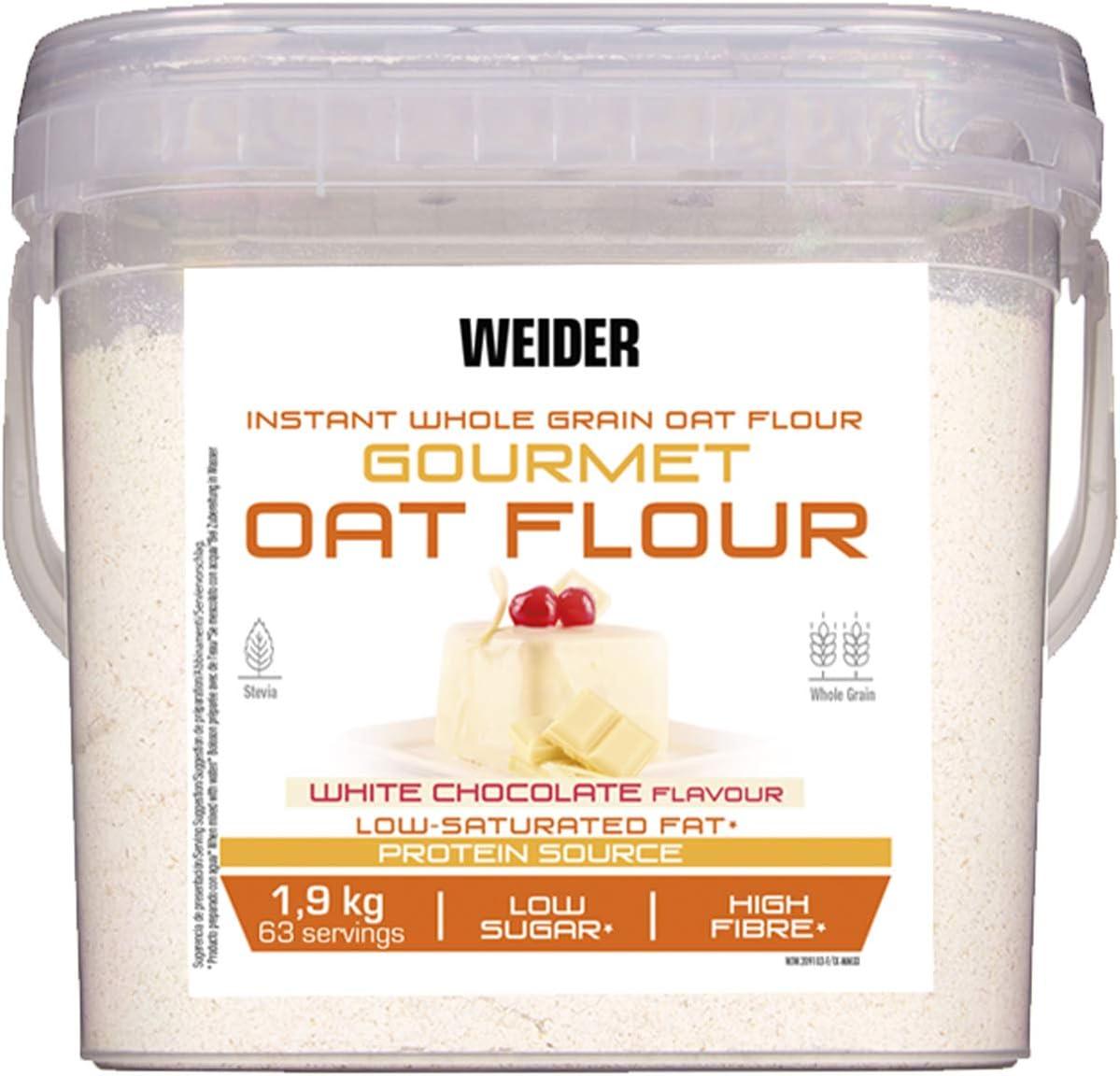 Weider Oat Gourmet Harina de Avena Integral, Fuente de proteína con bajo contenido en azúcares, Sabor Chocolate blanco (1,9 kg)
